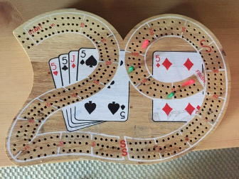 A cribbage board shaped like a 29 - the best hand in crib!