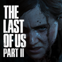The cover of the Last of Us Part 2 - Ellie's angry, blood-splattered face