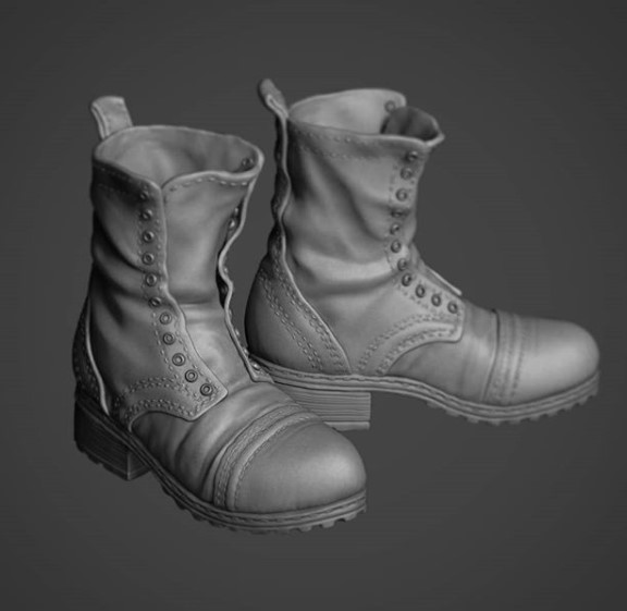 Digital sculpture of boots made by Sara Wilde
