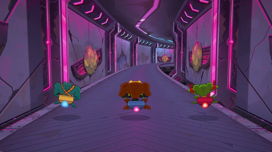 Screenshot of the Battletoads Turbo Tunnel level. All three toads are on turbo bikes with their backs to us.
