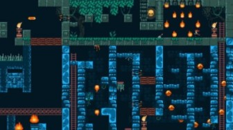 Screenshot of 1 Screen Platformer - shows a 2D environment with braziers, fire, ladders, and platforms