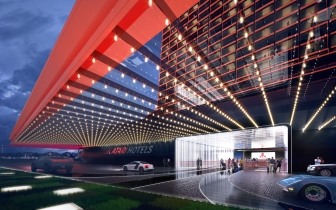 Rendering of Atari Hotel lobby entrance exterior (supplied)