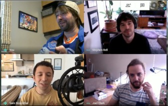 Screenshot of a Google Meet interview with Sam Rosenthal, Stephen Bell, and Joel Clark of The Game Band, and Mark of Super Gamer Podcast