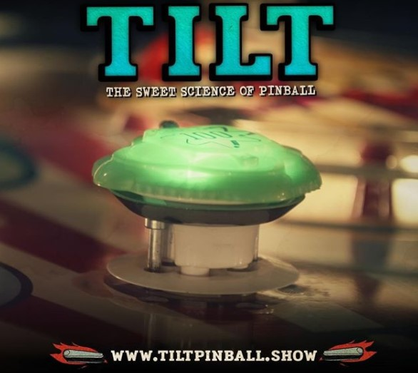 promotional image of Tilt, The Sweet Science of Pinball. A picture of a green pinball bumper worth 100 points, and the website www.tiltpinball.show listed at the bottom.