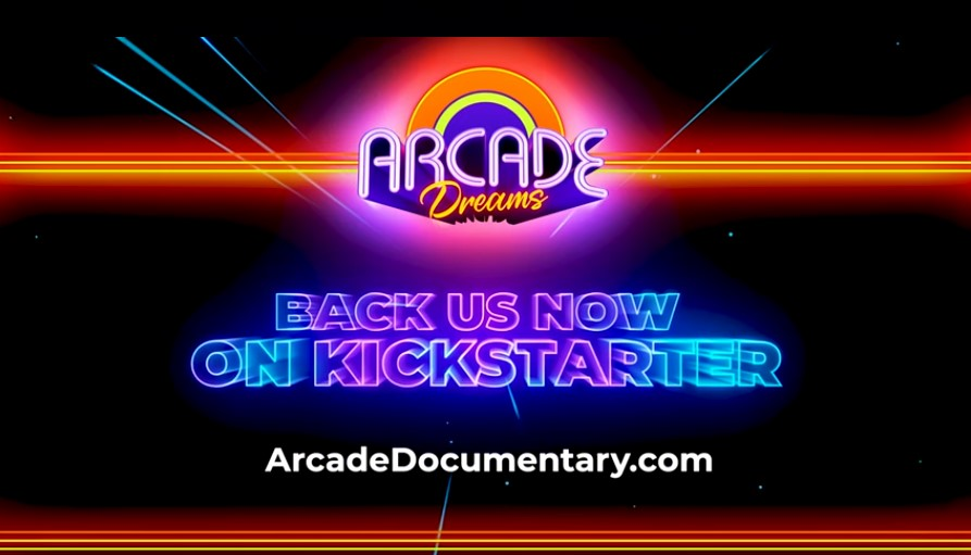 """Logo of Arcade Dreams with """"Back Us Now on Kickstarter"""" underneath"""