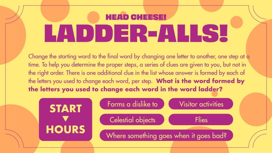 An example of Justin Ladia's Ladder-Alls puzzle in Head Cheese game. With clues, you must change one letter in a word at a time to form other words.