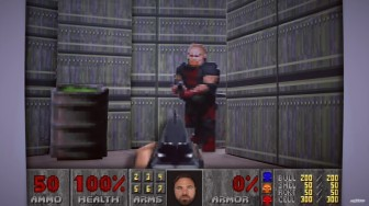 Doom 2 made of cardboard - Bill Thorpe's face is where Doomguy's face would be. A cardboard shotgun from first-person view aims at a demon.