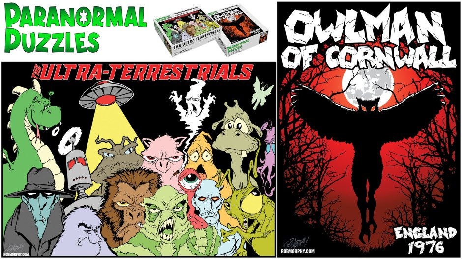 Paranormal Puzzles logo with both puzzle designs: Ultra Terrestrials has several paranormal creatures in a cartoonish style and Owlman of Cornwall is a lot spookier with a silouette of an owlman-like creature between creepy trees and below a full moon