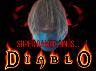 Long-haired Mark's masked face overlaid on the Diablo cover art (which is a horned demonic face) with the words Super Gamer Sings Diablo