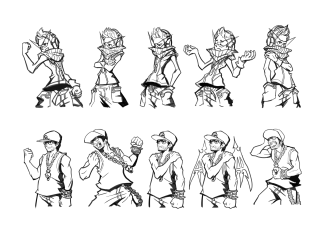 Two Geekswag sprites in various poses; they have a sort of anime/Jet Set Radio look to them; one of them has a high collar or bandana, long triangular aglasses, headphones, and a crystal medallion; the other has a baseball cap, sleeveless shirt, and a chain with a skull medallion - in one pose he has demonic wings, too.