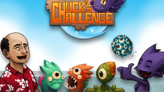 A Kickstarter image for Chuck's Challenge, featuring characters of the game. There's Chuck, two 3-eyed monsters, a one-eyed monster, and a happy alien giving a thumbs up.