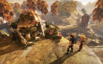 Screenshot from Brothers: A Tale of Two Sons - the titular brothers are speaking to a troll, on a hill, with a windmill in the background