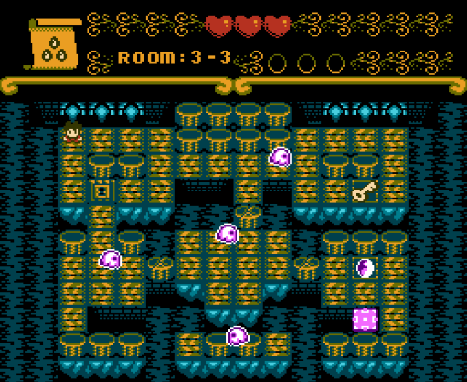 Screenshot of Roniu's Tale - topdown dungeon crawl with ghosts blocking Roniu's path to the key