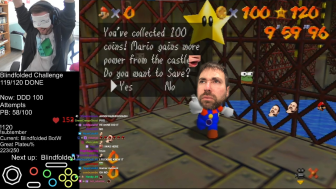 Screenshot from Bubzia's stream, when he got the final star in his run -- but with Mark's head on Mario's body